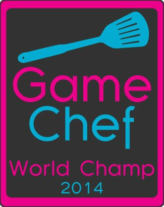 A social media badge featuring an image of a spatula and the words Game Chef World Champ 2014